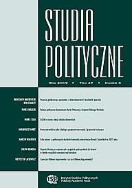 Okładka Studiów Politycznych, t. 47, nr 3/2019